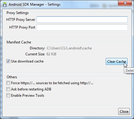 clear cache for manifest file of android