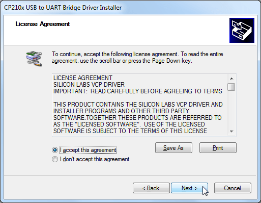 cp210x usb to uart bridge driver installer license agreement