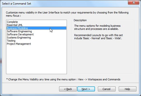 ea select a command set business modeling