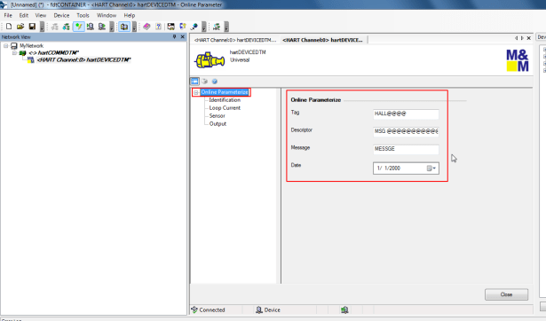 online parameterize can see tag descriptor message date