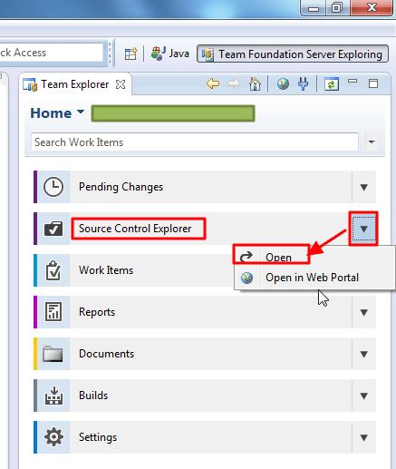 tfs source control explorer open