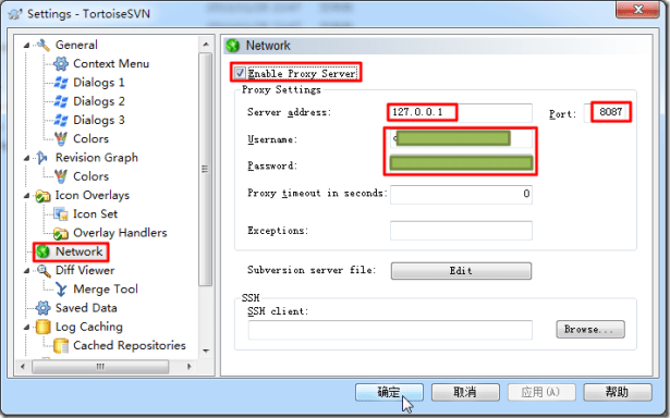 tortoisesvn settings network enable proxy server 127.0.0.1 8087 and username and password