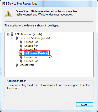 usb device not recoginzed for unknown device for gt-p3110