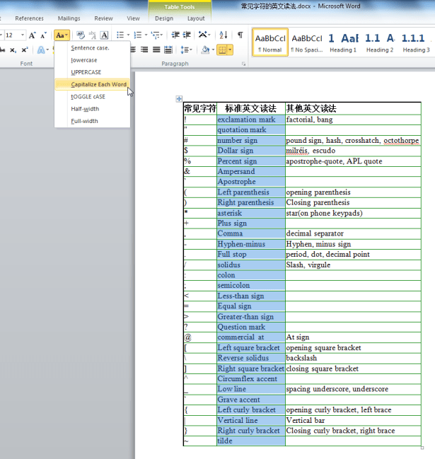 word home for selected Aa capitalize each word before