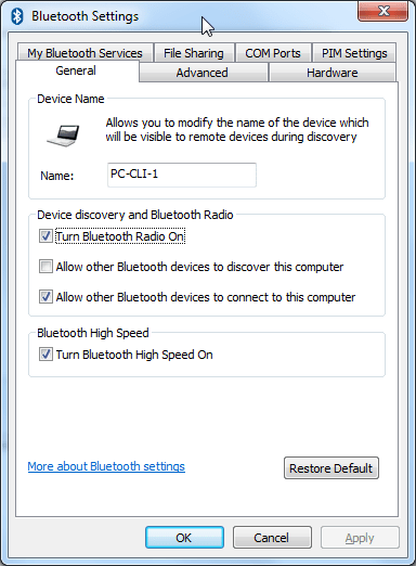bluetooth settings ui show config