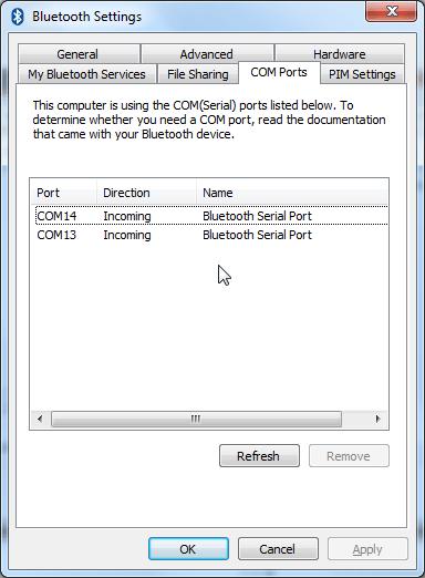 csr bluetooth settings COM ports show com13 and com14 both incoming