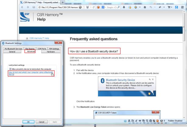 csr bluetooth settings how to use unlock block