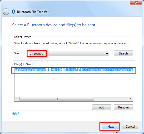 select device to send to file list contain mp3 next