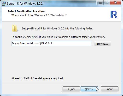 Setup R for Windows 3.0.2 select destination location