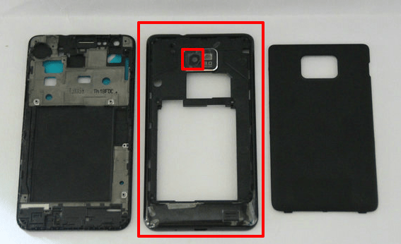 disassemble i9100g show the back cover with camera len