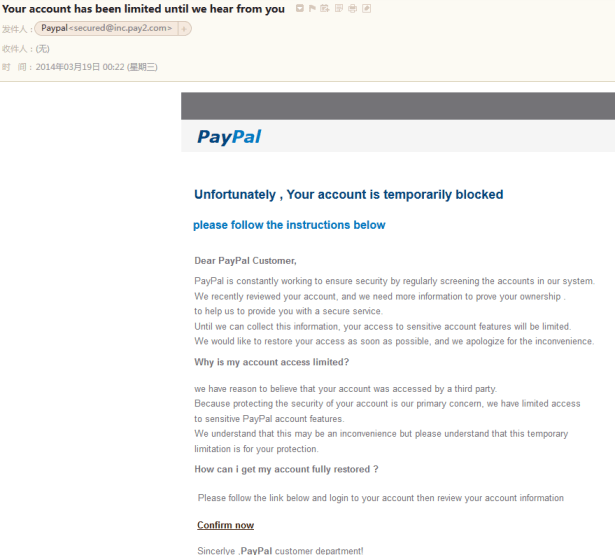 paypal Unfortunately Your account is temporarily blocked