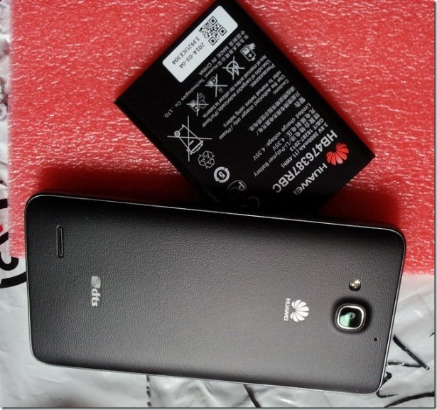 detail look at huawei G750-T01 rear side and battery