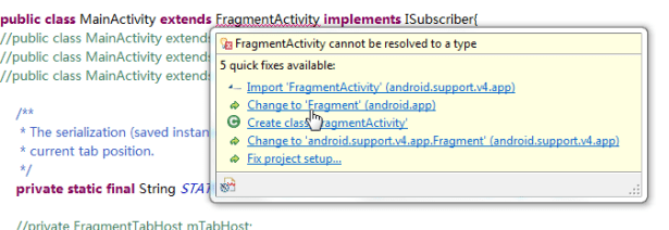 FragmentActivity cannot be resolved to a type