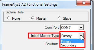 framealyst 7.2 when set master choose primary or secondary