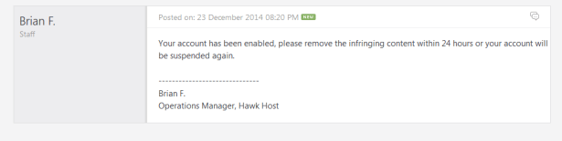 hawk has reply me mail for not suspend me