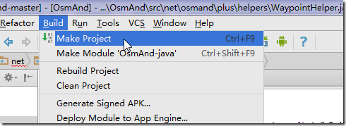 android studio build make project osmand