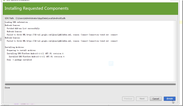 installing requested componets for android sdk