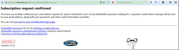 subscription request confirmed for mediawiki