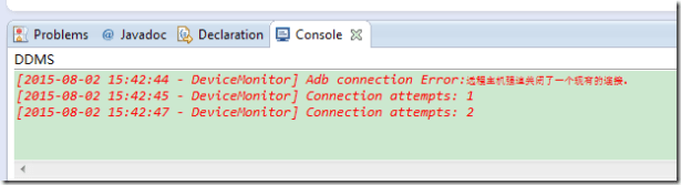 android eclipse console Adb connection Error remote host closed