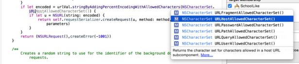 xcode auto complete  URLHostAllowedCharacterSet