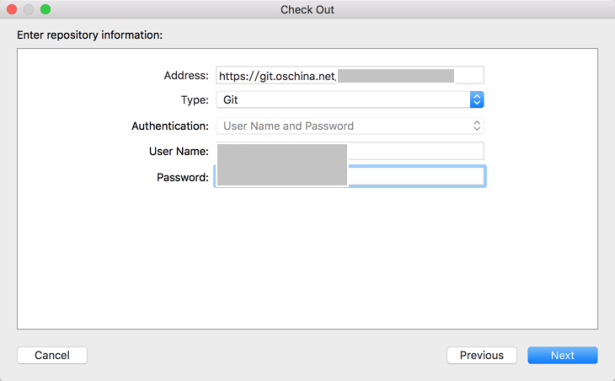 address git type git user name and password