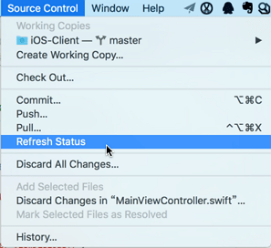 refresh status xcode source control