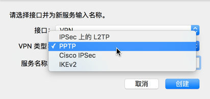 vpn type choose pptp