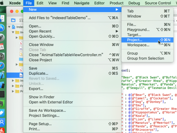 xcode file new project