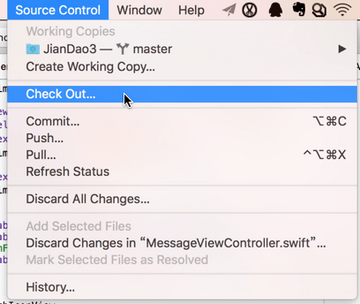 xcode source control check out git