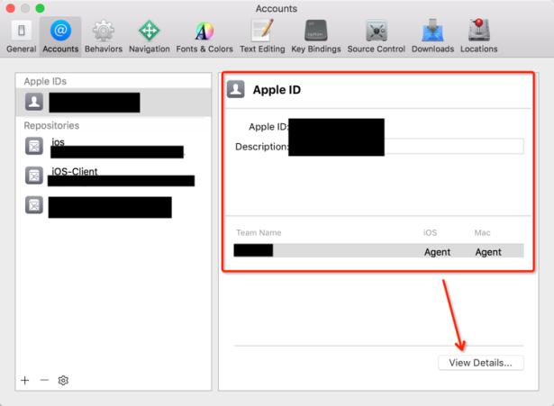 xcode accounts app ids view details