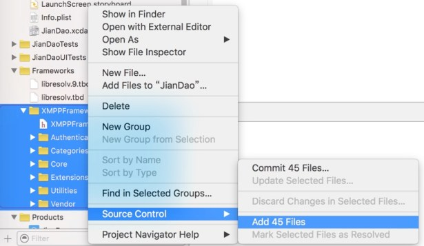 xcode source control add files