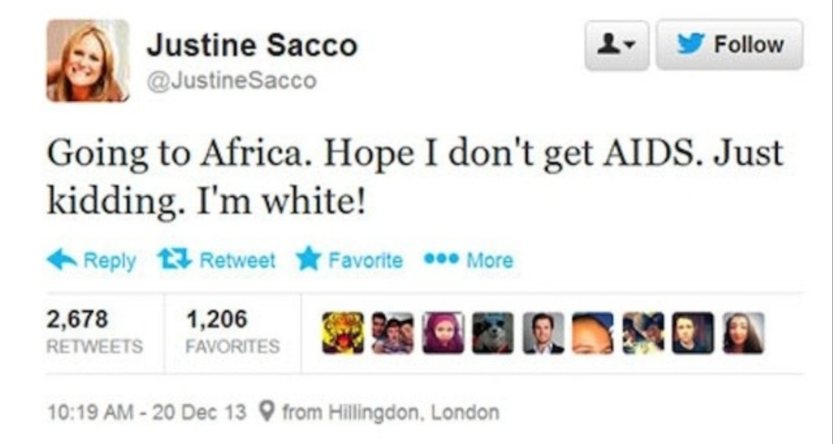 Justine Sacco e il suo tweet
