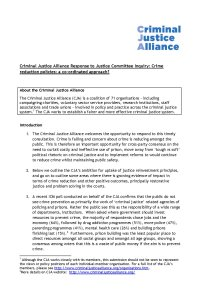 CJA Response Crime reduction policies cover page