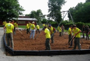 Troop #60 builds a swing set for Collins Middle School in West Virginia. This was the most tasking and rewarding community service the group has completed.