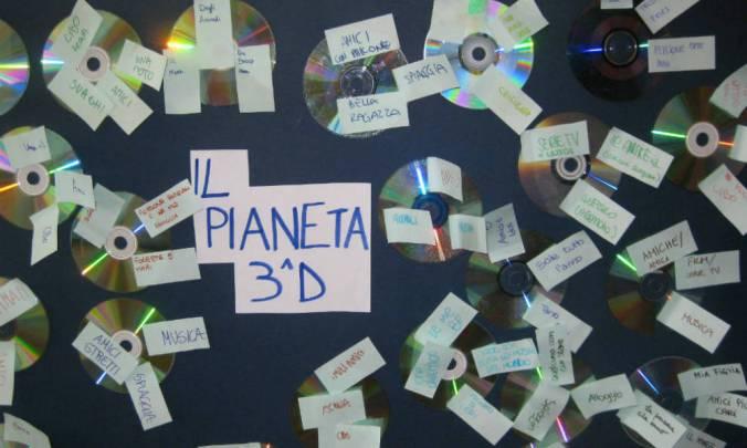 cartellone con pianeti ogni cd rappresenta un pianeta dei ragazzi di una classe