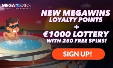 Nuevos puntos Megawins de Fidelidad y lotería de € 1.000 con 250 giros libres!