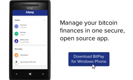 Usuarios de Windows Phone podrán descargar monedero de bitcoins de BitPay