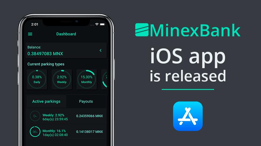 Minexcoin anuncia el lanzamiento de la aplicación iOS de MinexBank
