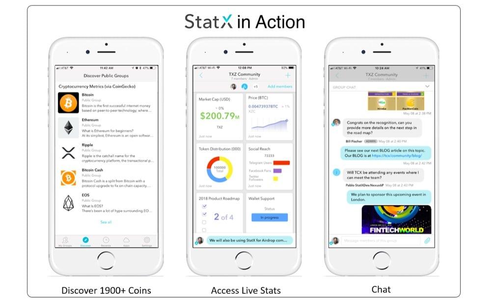 StatX presenta su app móvil de intercambio de información y mensajería para la comunidad cripto