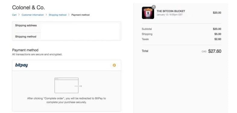 El Bitcoin Bucket de kfc