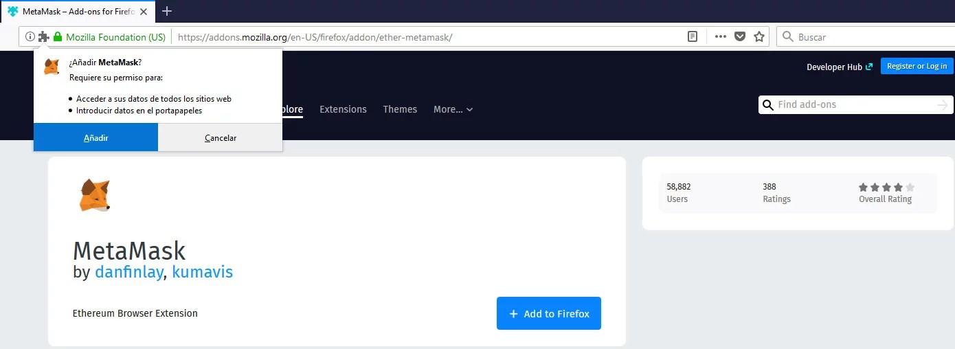 Instalando Metamask en Firefox
