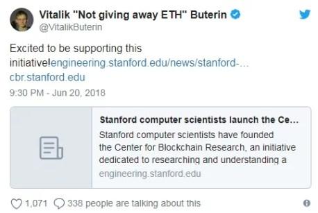 La Fundación Ethereum y la Universidad de Stanford crean Centro de Investigación Blockchain