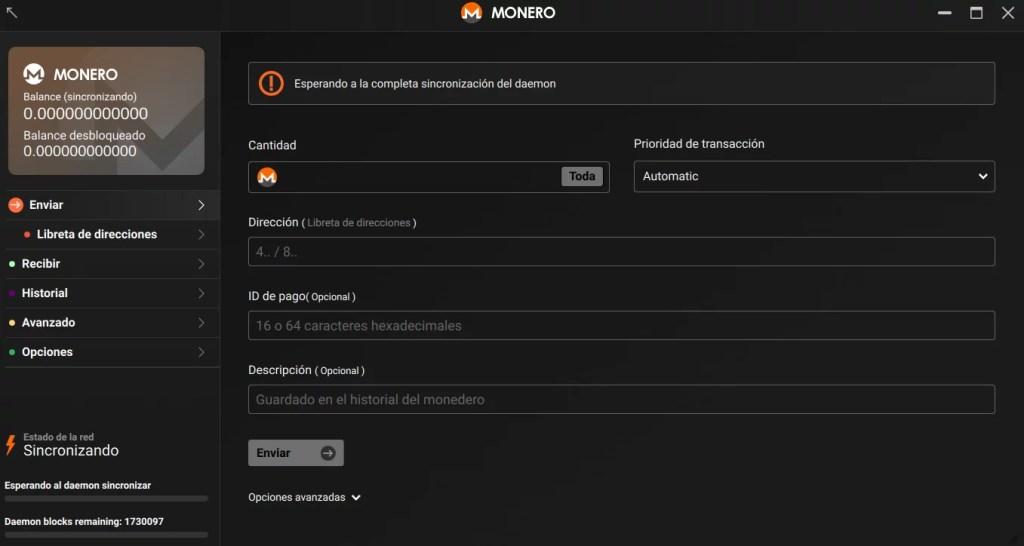 Wallet full node de Monero completamente configurada y funcionando.