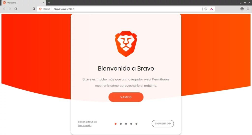 Página de Inicio de Brave en su primer arranque