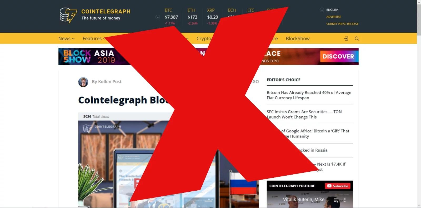 Rusia bloquea el portal de noticias criptográficas Cointelegraph