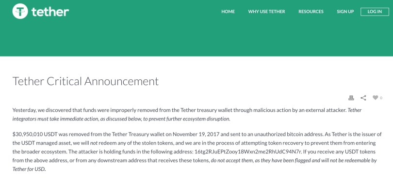 Tether rubati 30 milioni USDT
