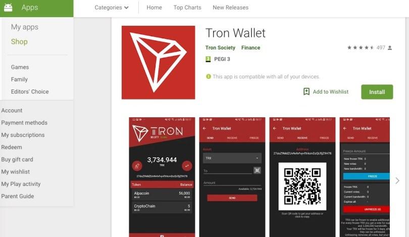Tron Wallet il portafoglio di Tron