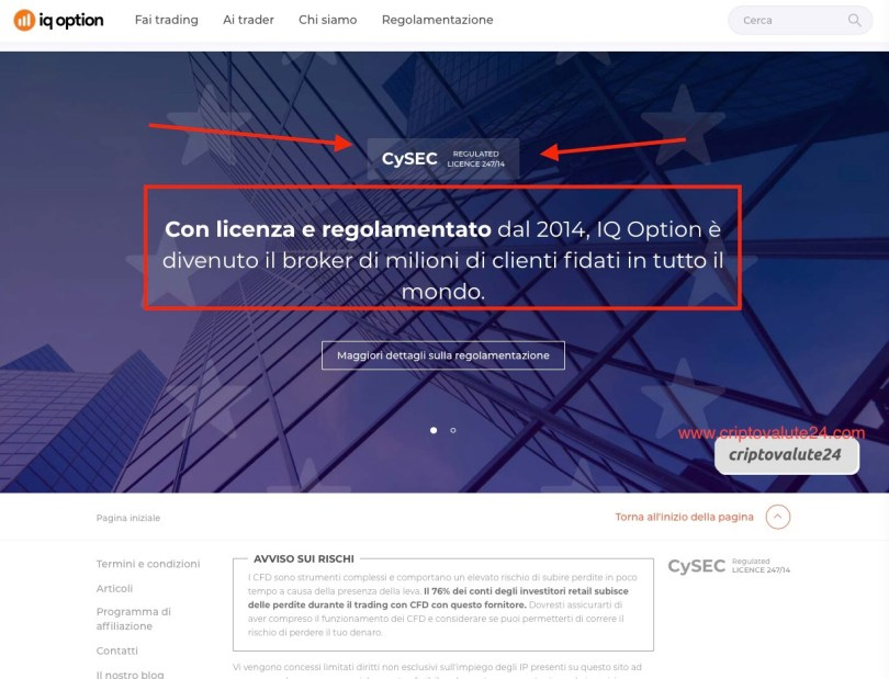 IQ Option Licenza CySEC 274/14