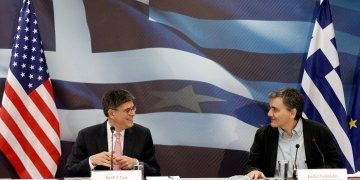 U.S. Treasury Secretary Jack Lew (L) and Greek Finance Minister Euclid Tsakalotos attend a news conference at the Finance Ministry in Athens, Greece,  July 21,  2016. REUTERS/Michalis Karagiannis