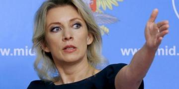 Spokeswoman of the Russian Foreign Ministry Maria Zakharova gestures as she attends a news briefing in Moscow, Russia